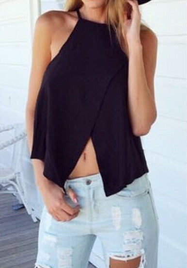 Trendy Top Black Spaghetti Strap Cross Tank Top