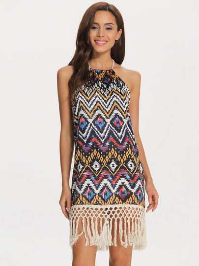 Geometric Print Dress Multicolor Halter Tassel Dress