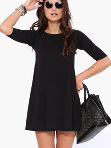 Dresses Black Casual : Half Sleeve Dress