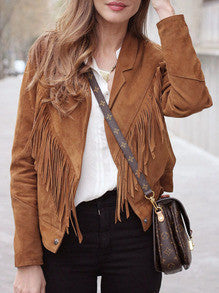 Brown Tassel Biker Jacket with Lapel Casual Jacket