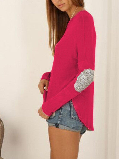 Pink Loose T-Shirt with Sequin Elbow Patches