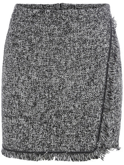 Grey Wool Fringe Skirt