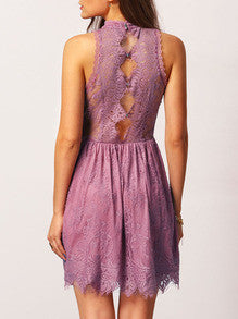 Purple Embroidered Dress with Mock Neck in Sleeveless Lace