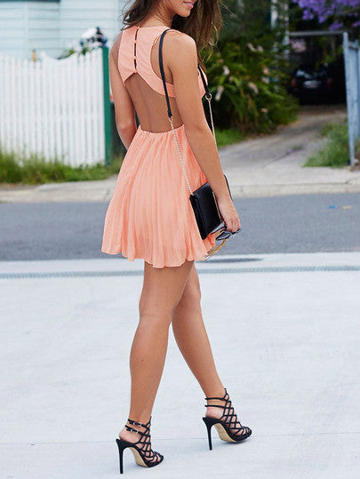 Short Pink Dress with Cut Out Back and Sleeveless Pleated Dress