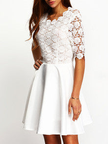 White Dress Eyelet Cut Out Back Skater Dress