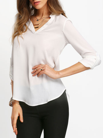 Beige V-Neck Long Sleeve Top