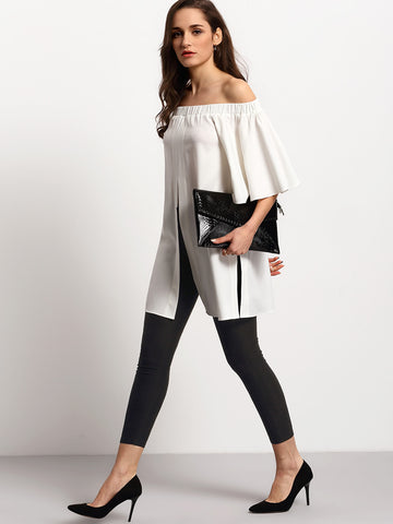 Beige Split Front Shirred Off Shoulder Blouse