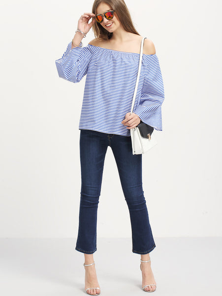 Blue Off Shoulder White Striped Blouse