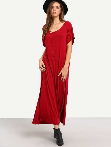 Red Round Neck Split Side Button Front Maxi Dress