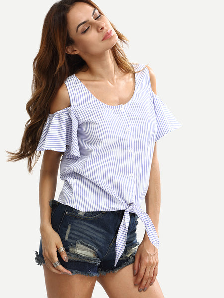 Blue Cold Shoulder Striped Buttons Blouse
