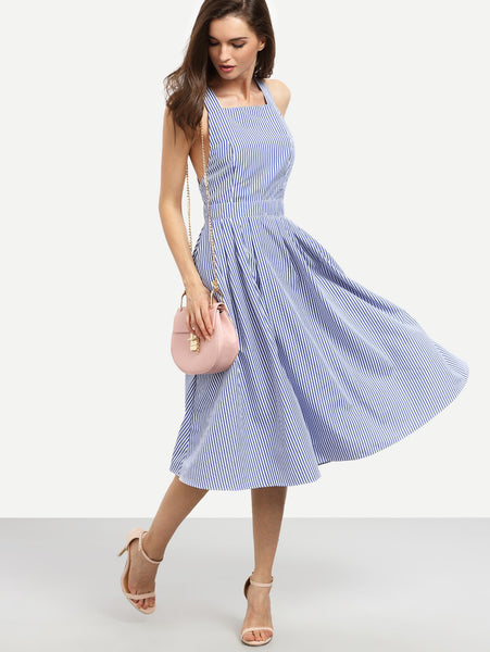 Blue Pinstripe Cross Back Swing Midi Dress