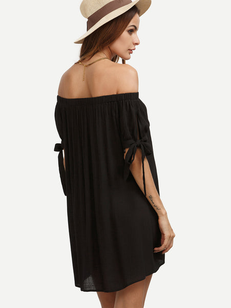 Black Split Self Tie Sleeve Off Shoulder Dress