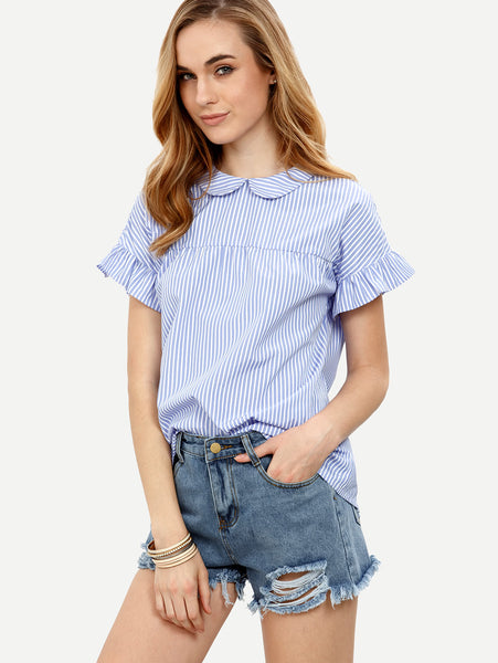 Blue Baby Collar Striped Frill Trim Tie Back Top