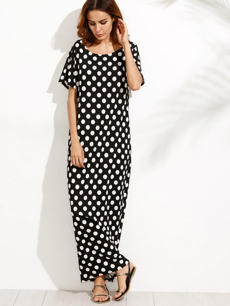 Black Polka Dot Scoop Neck Side Pocket Cocoon Dress