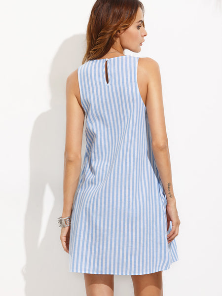 Blue Vertical Stripe Button Keyhole A-Line Dress