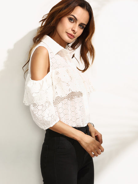 Beige Eyelet Cold Shoulder Ruffle Layered Button Top
