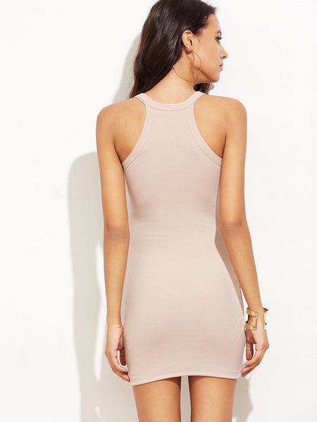 Pink Racer Rib Knit Sleeveless Bodycon Dress