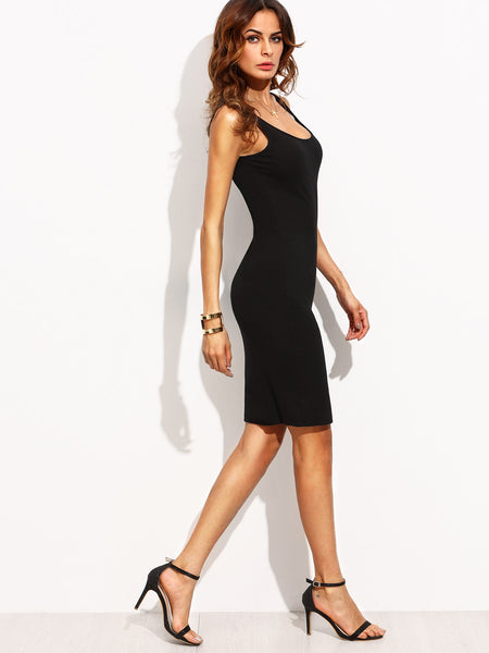 Black Sleeveless Double Scoop Bodycon Dress