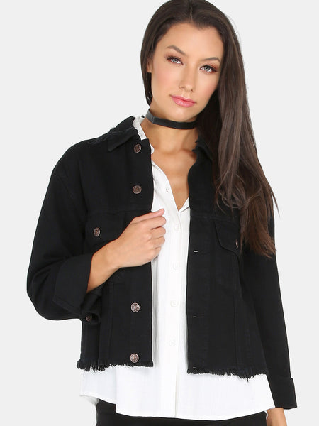 Black Sequin Lips Back Distressed Denim Jacket