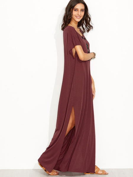 Burgundy Round Neck Side Slit Maxi Tee Dress