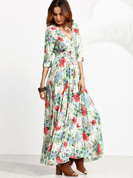 Multicolor Floral Print V-Neck Elastic Waistline Button Up Dress
