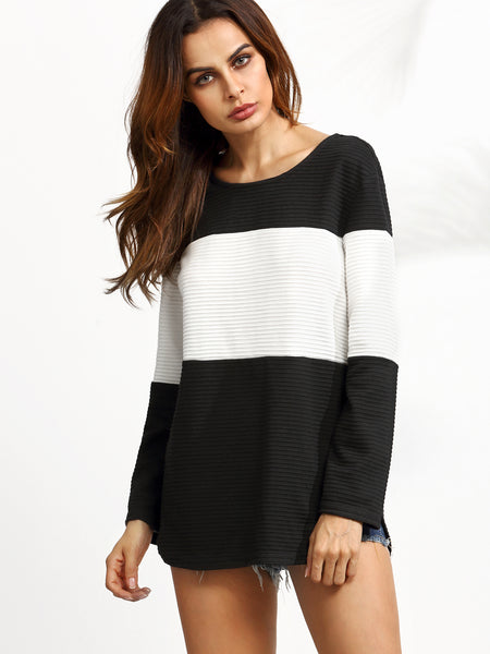 Black And White Contrast Textured With Curved Hem Sweatshirt