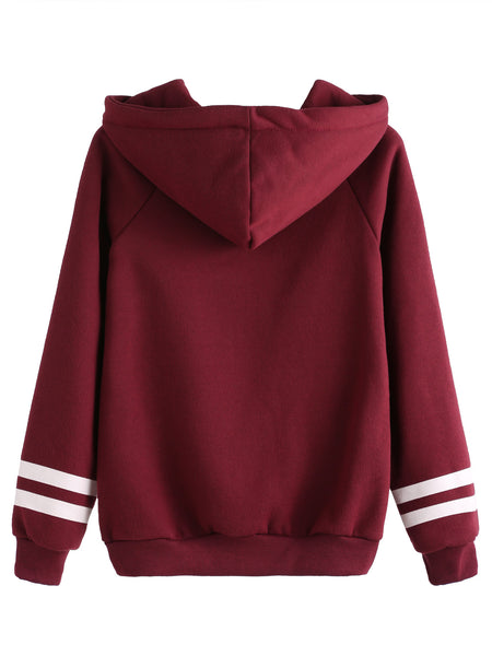 Burgundy Hooded Sweatshirt With Letter Print And Front Pocket