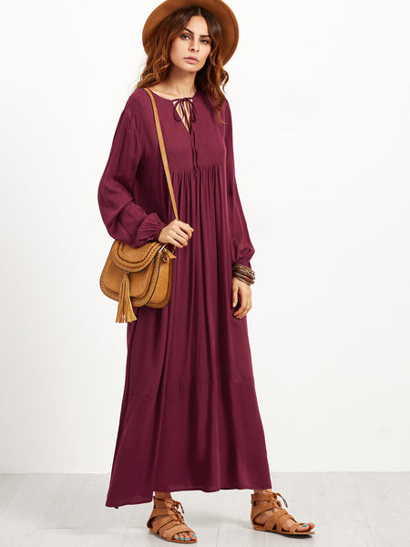 Burgundy V Notch Tie Lantern Sleeve Maxi Peasant Dress