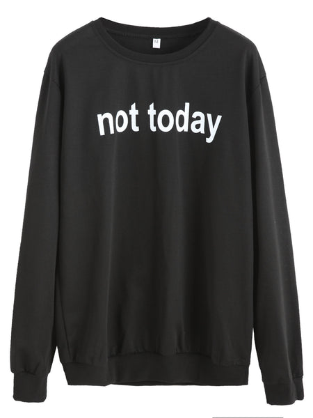 Black Round Neck Slogan Print Casual Sweatshirt