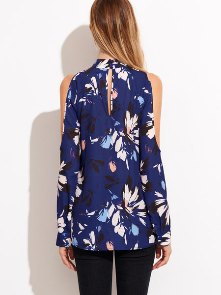 Blue Floral Print Long Sleeve Cold Shoulder Choker Cut-Out Blouse