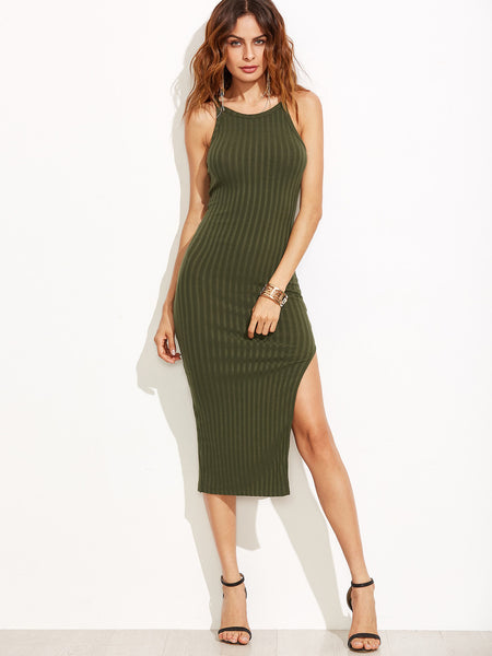 Army Green Halter Back Ribbed Side Slit Bodycon Dress