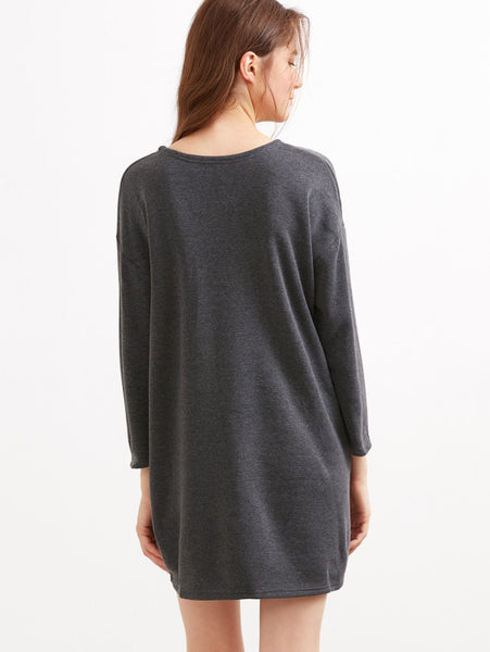 Grey Drop Shoulder Dress With Side Pockets