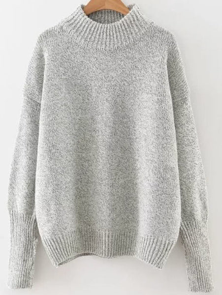 Grey Drop Shoulder Crew Neck Ribbed Trim Pullover