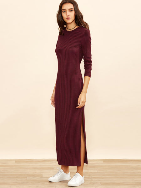 Burgundy Rib Knit Column Side Slit Dress