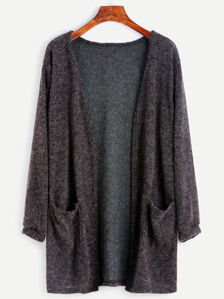 Dark Grey Open Front Dual Pocket Elastic Cuff Cardigan