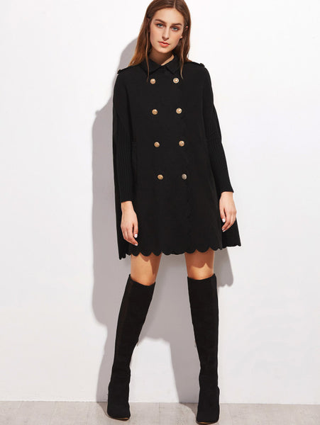 Black Collared Scallop Edge Cape Coat