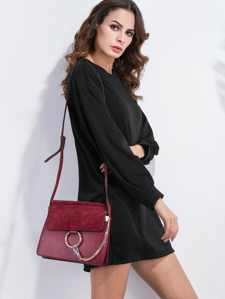 Black Drop Shoulder Long Sleeve Sweatshirt Dress