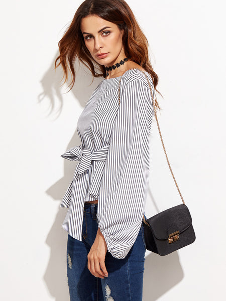 Black and White Stripe Boat Neck Lantern Sleeve Top