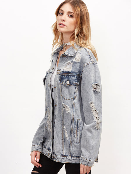 Grey Button Up Ripped Boyfriend Denim Jacket