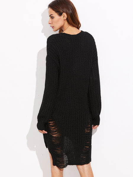 Black Knitted Ripped Dip Hem High Low Sweater Dress