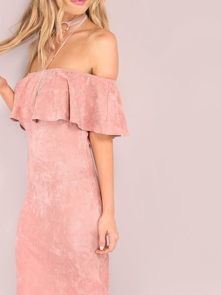 Pink Suede Flounce Off the Shoulder Neckline Dress