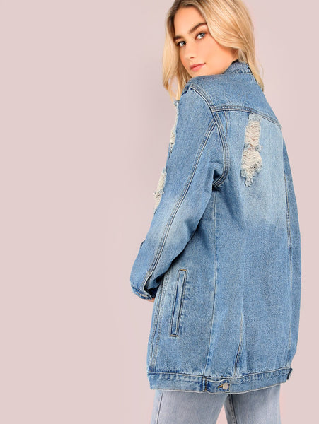 Blue Distressed Button Up Collared Denim Jacket