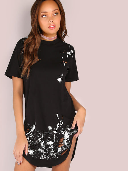 Black Distressed Short Sleeve Splatter Print Curved Tee Dress