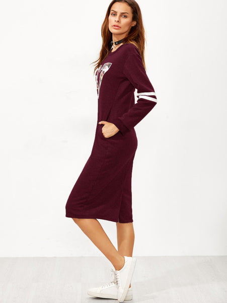 Burgundy Slit Back Zipper Varsity Print Sweatshirt Dress