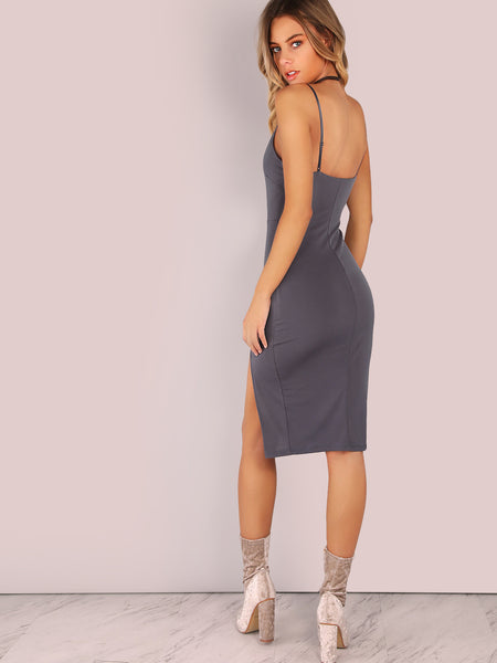 Grey Plungy Neckline Side Slit Bodycon Cami Dress