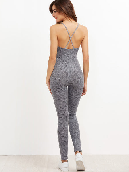 Grey Criss Cross Back Marled Ribbed Knit Caged Neck Jumpsuit
