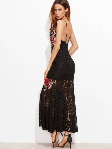Black Rose Embroidered Lace Overlay Fishtail Cami Dress