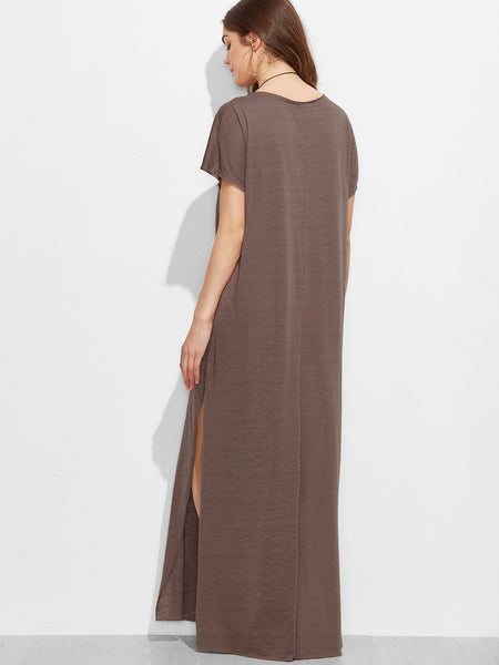 Brown Scoop Neck Side Split Loose Maxi Tee Dress