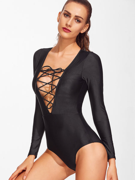 Black Long Sleeve Deep V-Neck Lace Up Monokini