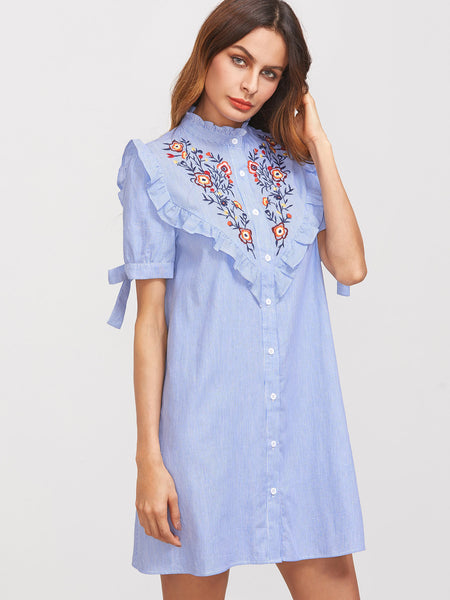 Blue Striped Short Sleeve Embroidered Yoke Frilled Tie Sleeve Turtle Neck Mini Dress